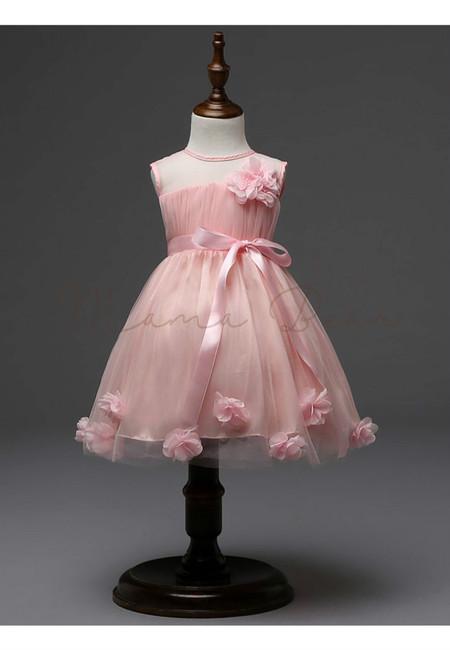 Lovely Flower Sashes Sleeveless Party Dress