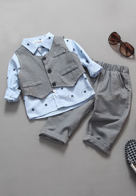 Star Print Top With Vest And Pants Kids Set