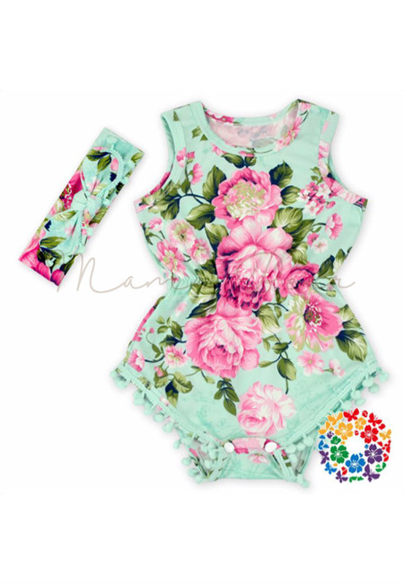Cute Floral Tasseled Baby Romper With Headband