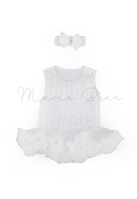 White Ruffled Roses Baby Tutu Set