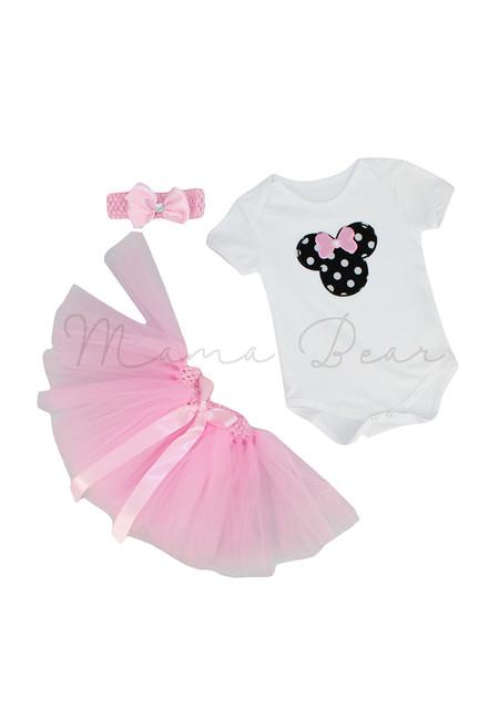 Polka Minnie Mouse with Tutu Skirt Set