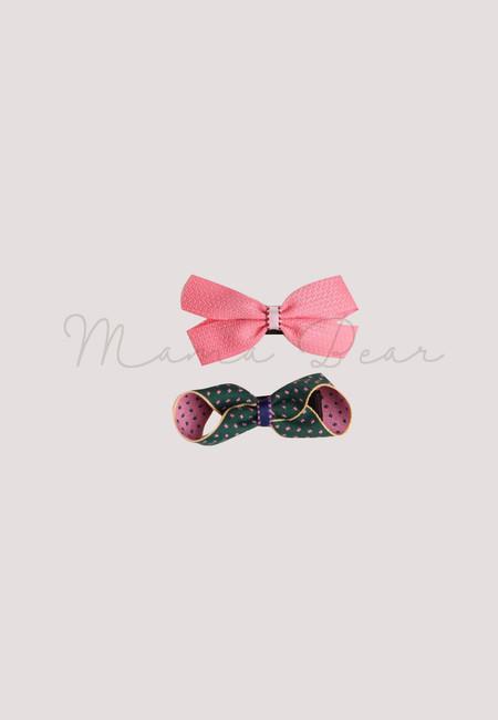 Green And Pink Ribbon Hair Clip Set