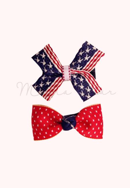 American Style Ribbon Kids Hair Clip Set