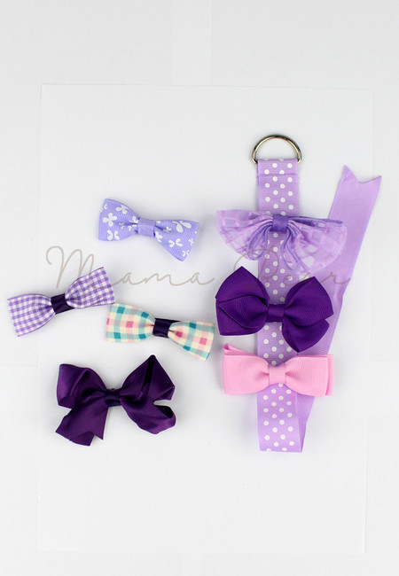 Purple Ribbons Kids Hair Clip Set With Clip Organizer