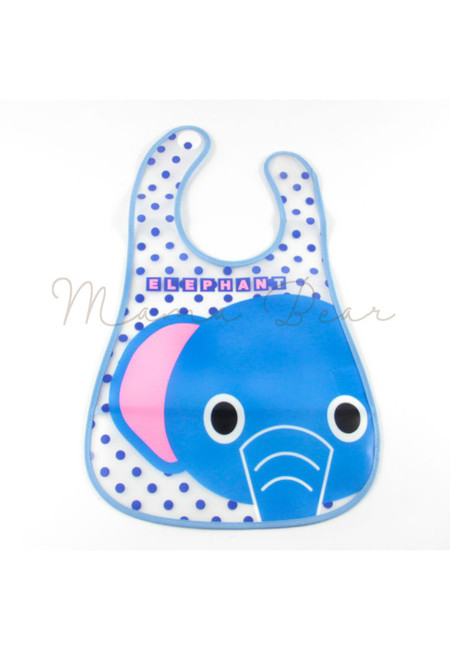 Polka Elephant Waterproof Baby Bib With Pocket