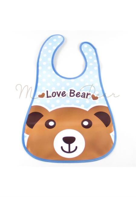 Love Bear Waterproof Baby Bib With Pocket