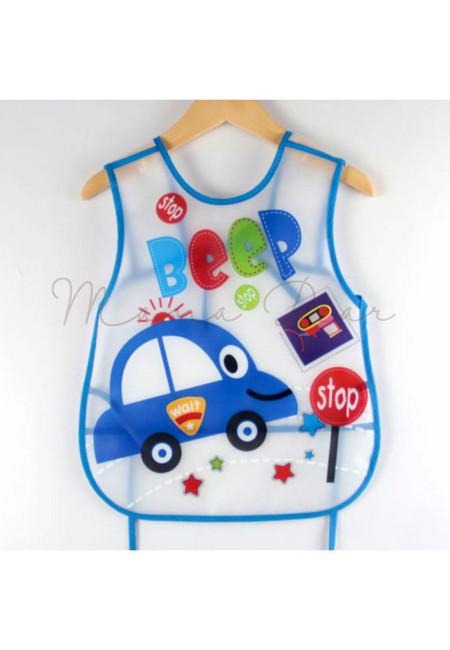 Adjustable Beep Car Waterproof Baby Bib With Pocket