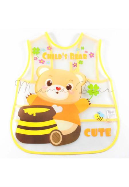 Adjustable Cute Bear Waterproof Baby Bib With Pocket