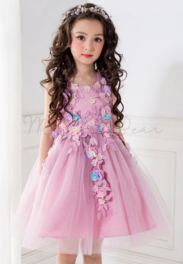 Floral and Leaf Pattern Ball Gown Party Dress (100cm-150cm) - MamaBearPH