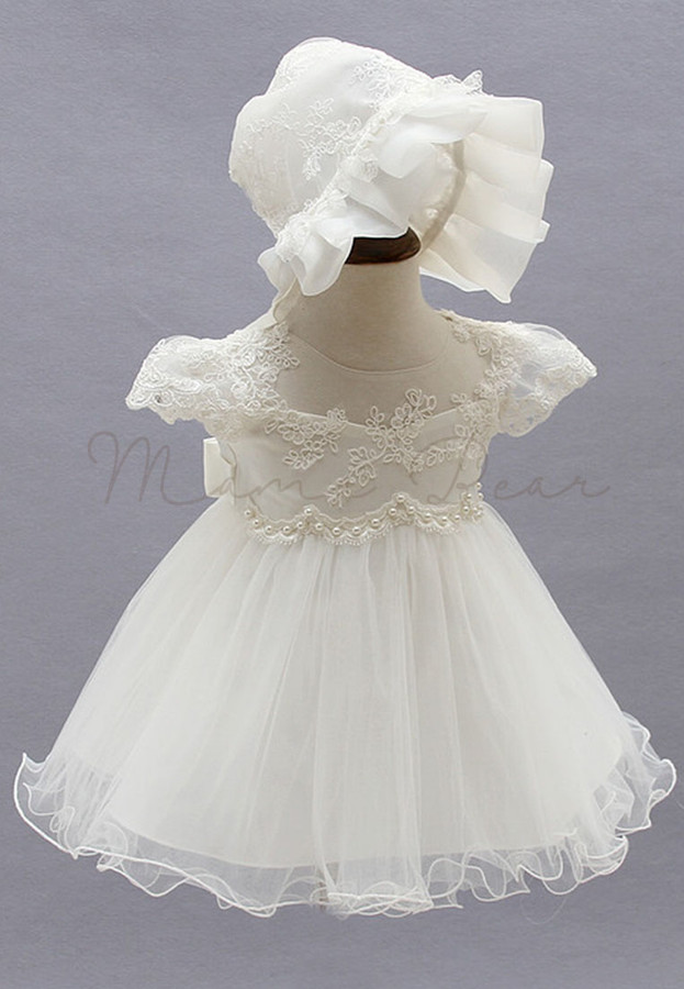 White Floral Pattern with Hat Ball Gown Party Baptismal Dress (3M ...