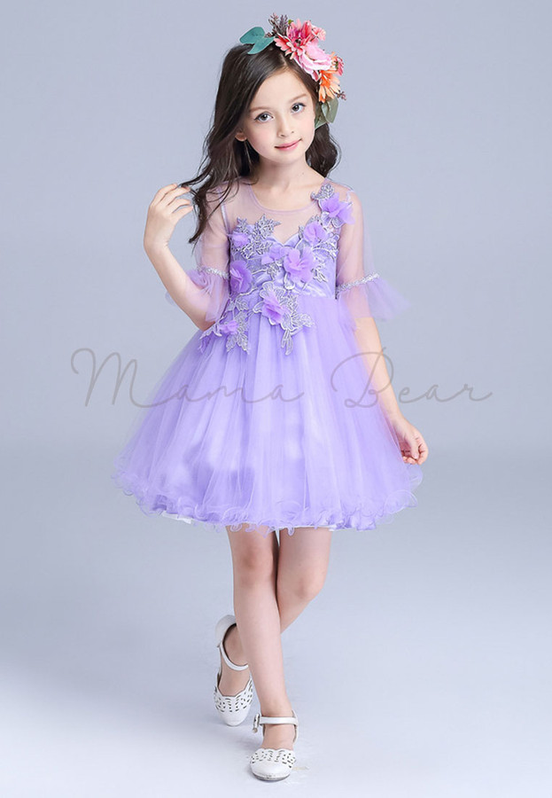 Purple Floral Pattern Mesh 3/4 Sleeves Ball Gown Party Dress (100cm ...