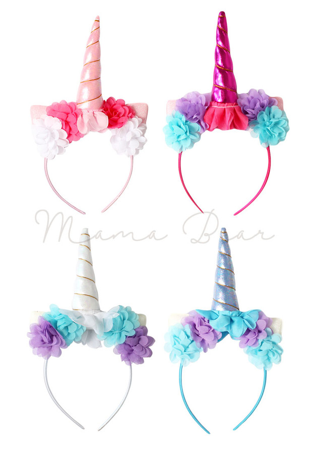 Unicorn Horn with Flower Kids Heaband