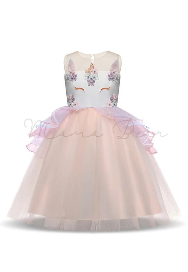 Baby Girl Unicorn Horse Floral Princess Tutu Mesh Lace Dress