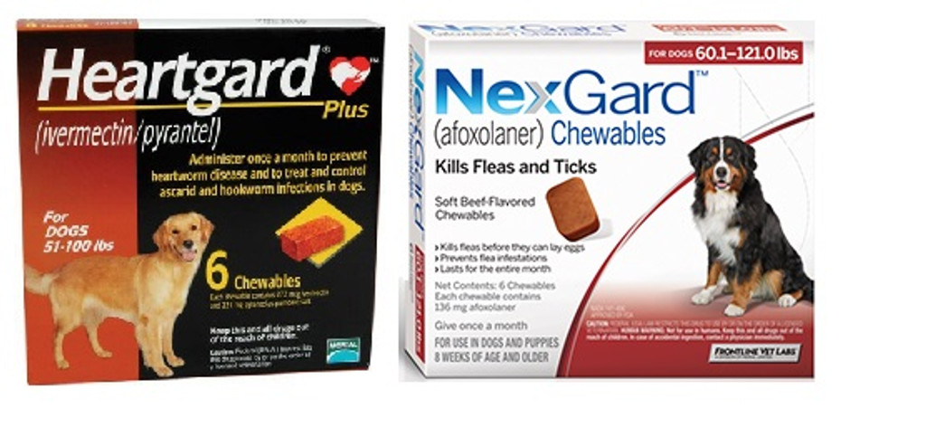 NexGard and Heartgard Combo for Dogs 601100 lbs 6 Pack