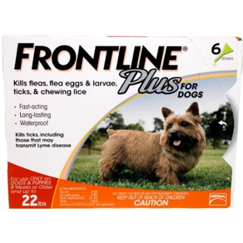 Frontline Plus for Small Dogs up to 22 lbs - 6 Pack