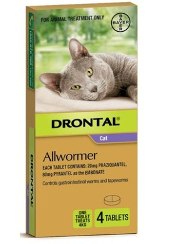 Drontal Allwormer for Cats up to 8lbs - 4 Pack