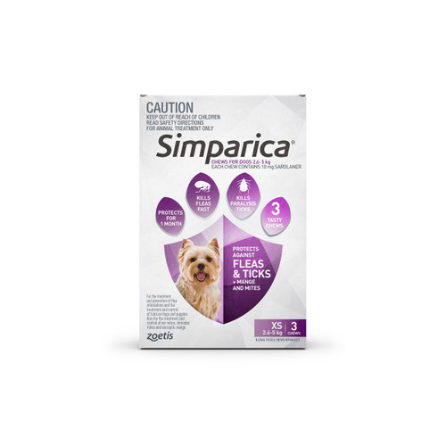 Simparica For Small Dogs & Puppies 6-11lbs (2.6-5kg) - 3 Chews