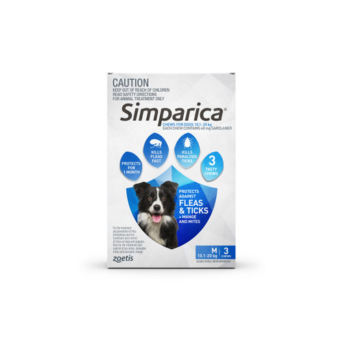 Simparica For Medium Dogs 22-44lbs (10.1-20kg) - 3 Chews