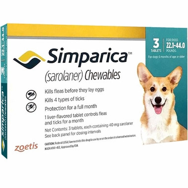 Simparica For Medium Dogs 22 44lbs 10 1 20kg 3 Chews