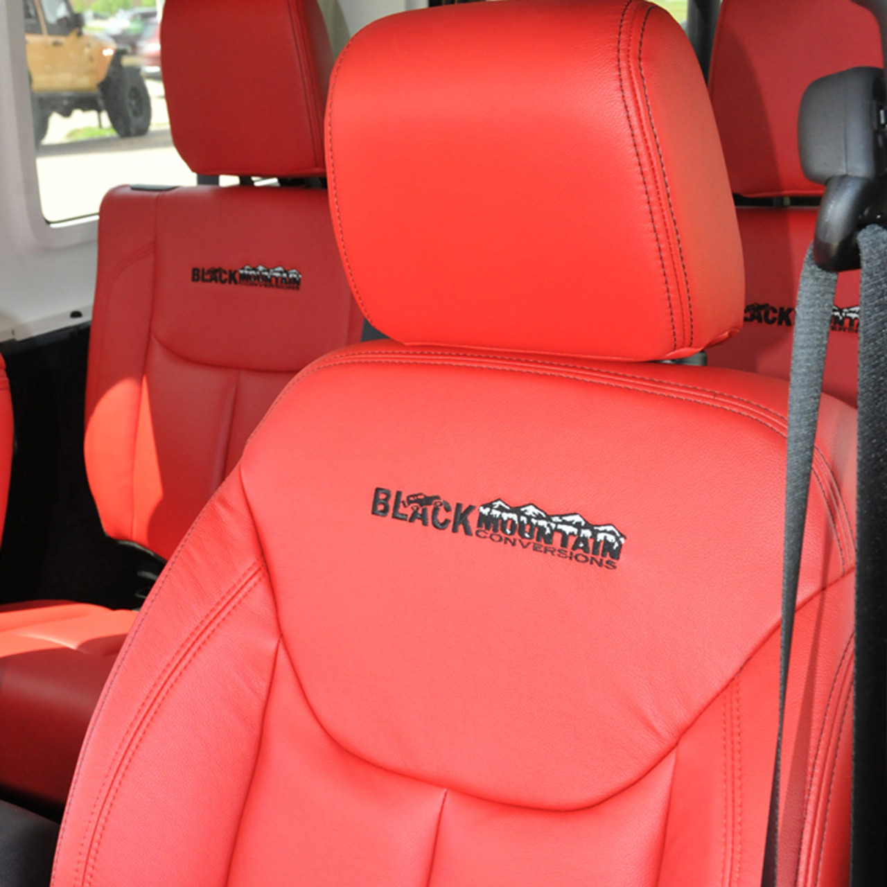 Leather Seat Covers Red Black Mountain Jeep