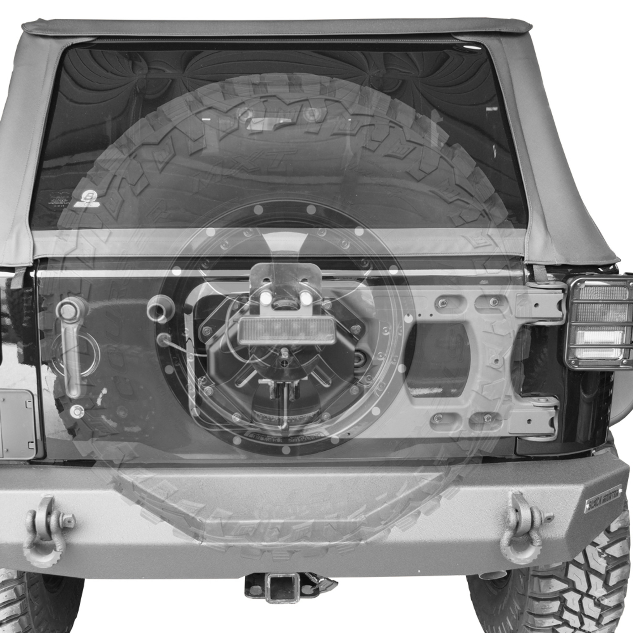 Hinge Tailgate Tire Carrier Black Mountain Jeep
