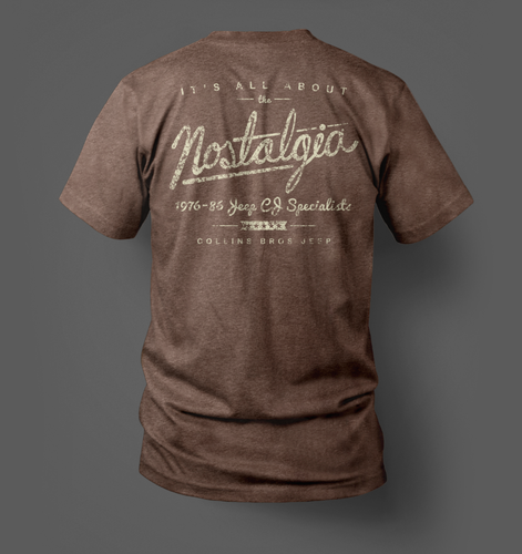 Back print of our vintage-style 'Nostalgia Tee' for CBJeep Classic Jeep restorations. Keep the classics alive.