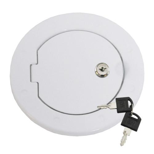 Locking Fuel Door - White