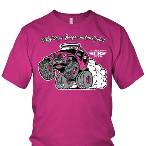 Women's Pink Jeep Wheelie T-Shirt