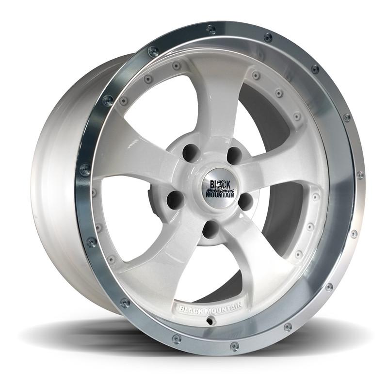 """Black Mountain Jeep: Two-Tone White 17x9"""" Wheel"""