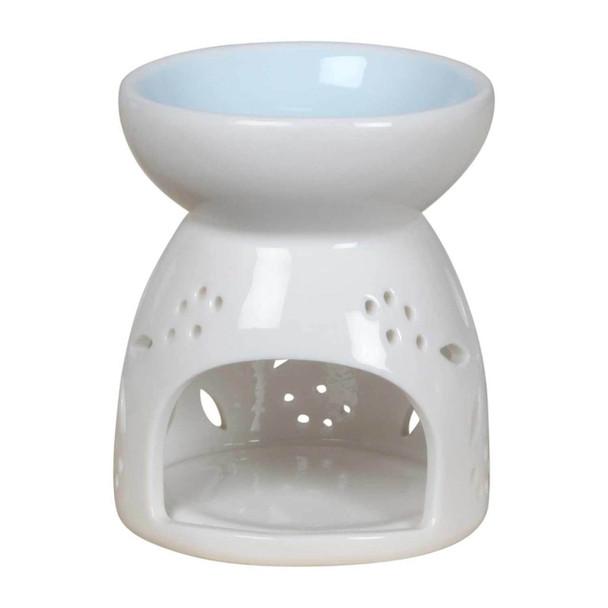 76774B White Ceramic Burner - Blue Flower