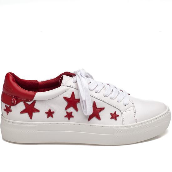 JSlides ALABAMA White & Red Leather