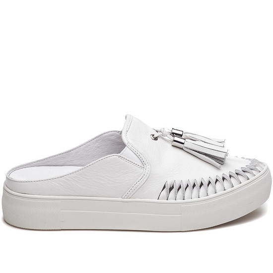 JSlides ANDIE White Leather