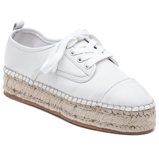 JSlides RALLY White Leather Espadrille
