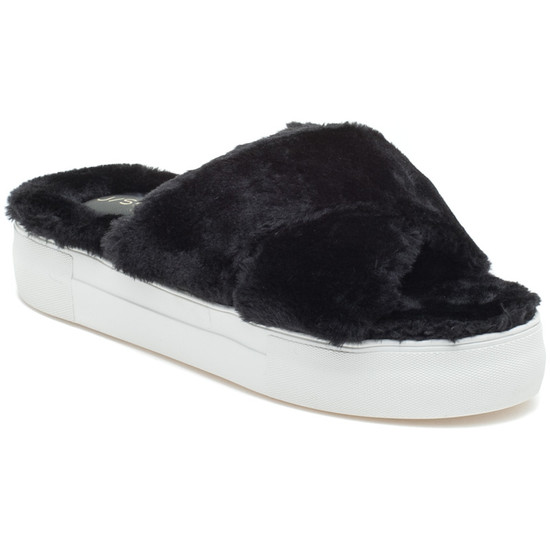 JSlides ADORABLEE Black Faux Fur