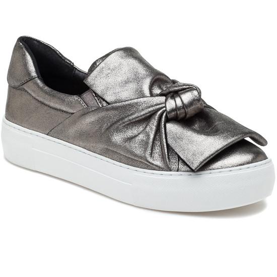 JSlides AUDRA Pewter Metallic Leather