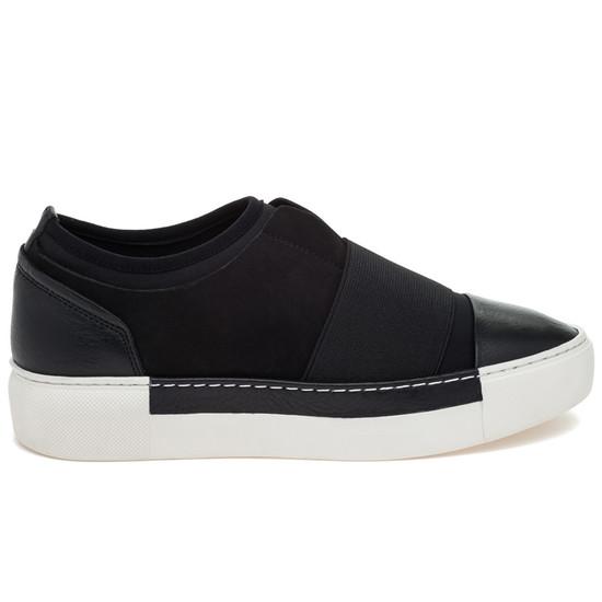 JSlides VOILA Black Leather Sneaker