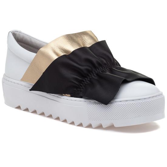 JSlides SADIE White Multi Leather