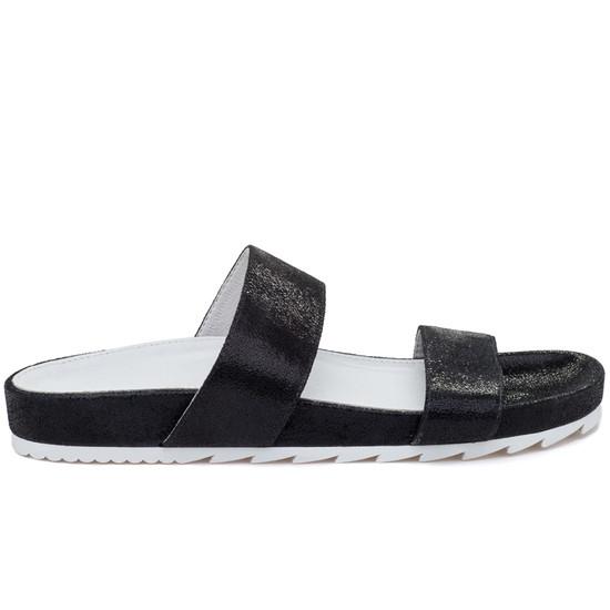 JSlides EDIE Black Crinkle Leather
