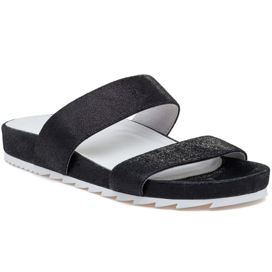 JSlides EDIE Black Crinkle Leather