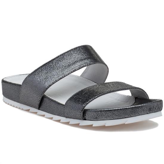 JSlides EDIE Pewter Crinkle Leather
