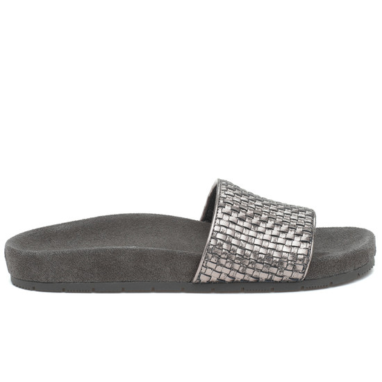 JSlides NAOMIE Pewter Metallic Leather