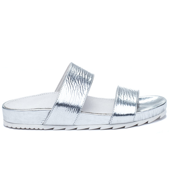 JSlides EDIE Silver Cracked Leather