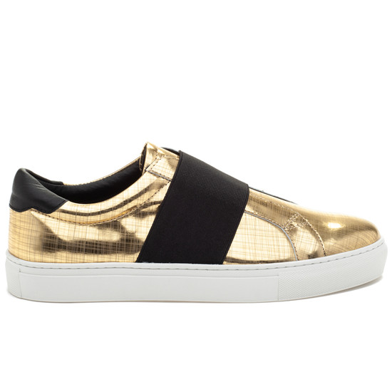 JSlides Mens DAREL Gold Metallic Leather