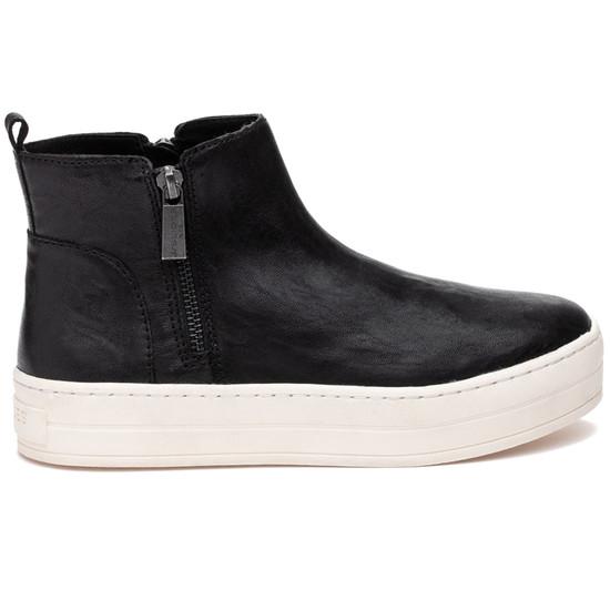 JSlides HISLE Black Distressed Leather