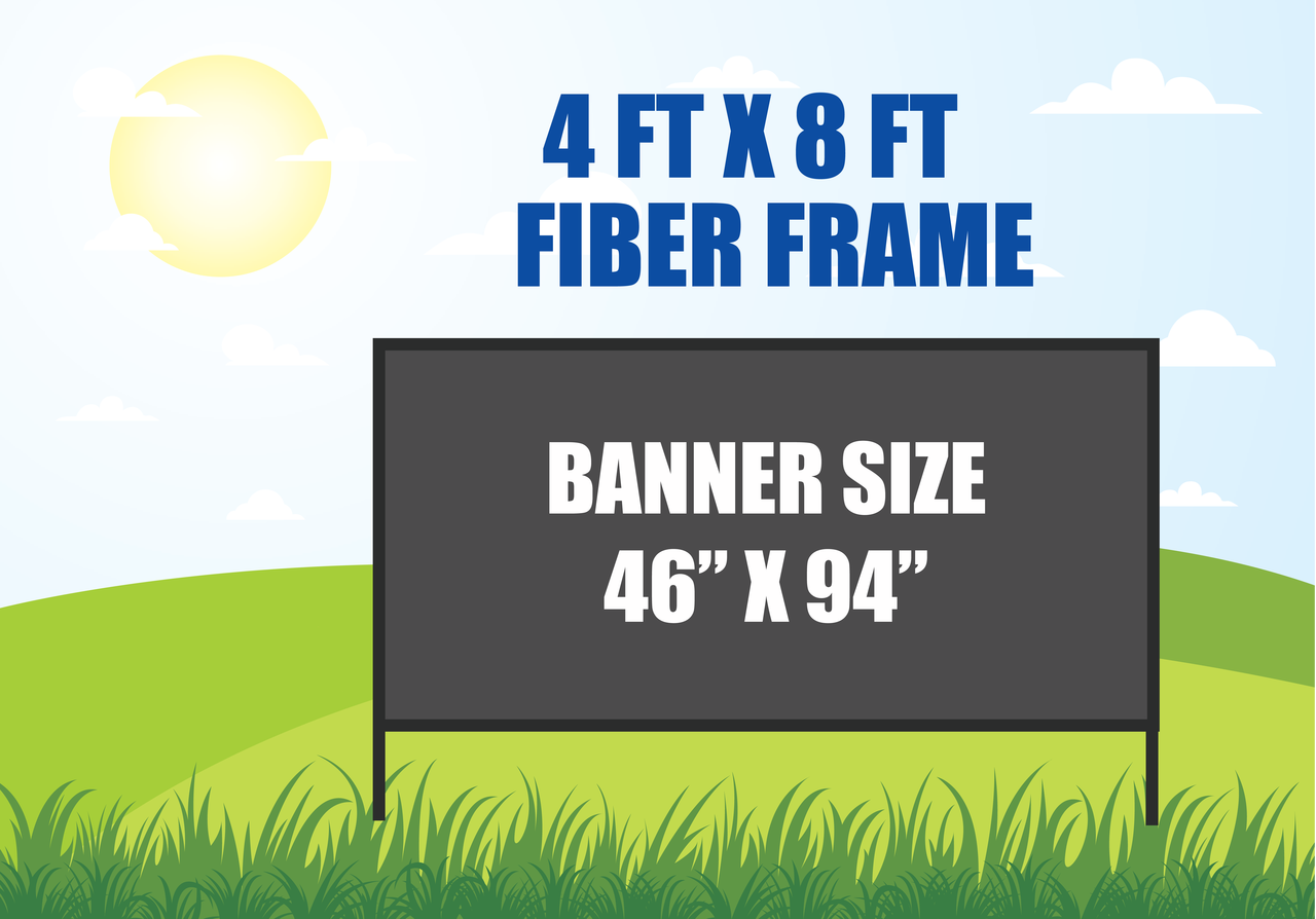 4 ft x 8 ft Outdoor Banner Stand In Ground Fiber Frame