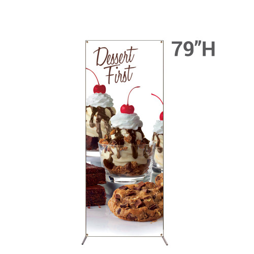 Grasshopper X-Stand 32 in x 79 in with vinyl banner printed graphic