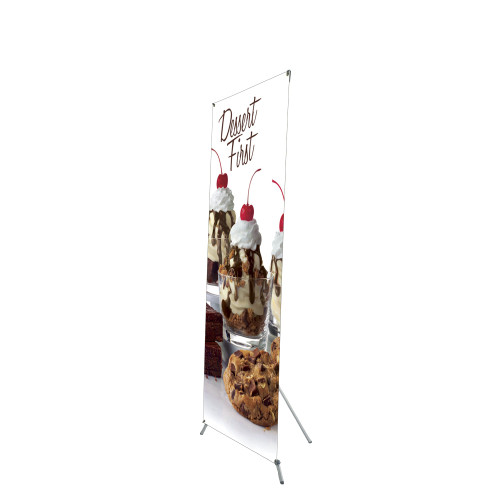 Grasshopper X-Stand 32 in x 79 in with vinyl banner printed graphic side view