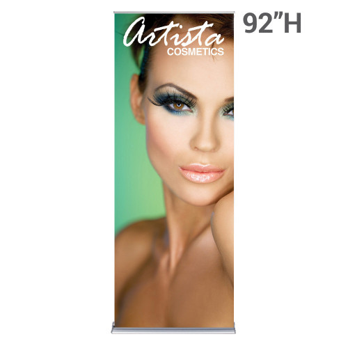 36 inch x 92 inch silverstep banner stand retractable with printed graphic