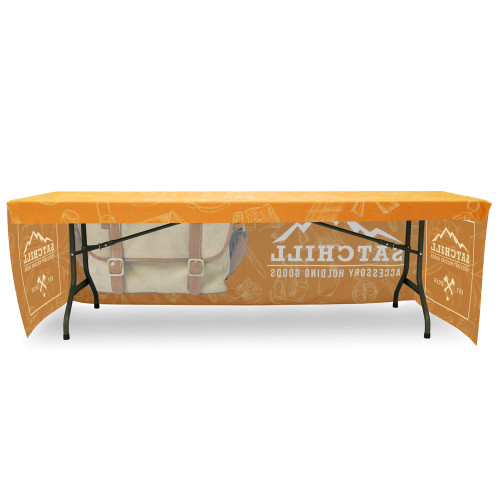 Fitted Table Throw Full Color 8 ft 3-Sided With Custom Dye Sub Print Back Side