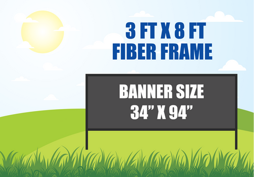 3 FT X 8 FT FIBER FRAME BANNER STAND HOLDS A 34 INCH X 94 INCH BANNER